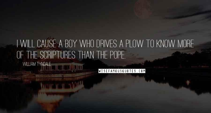 William Tyndale quotes: I will cause a boy who drives a plow to know more of the scriptures than the pope.