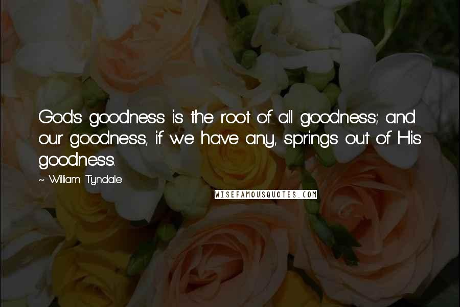William Tyndale quotes: God's goodness is the root of all goodness; and our goodness, if we have any, springs out of His goodness.