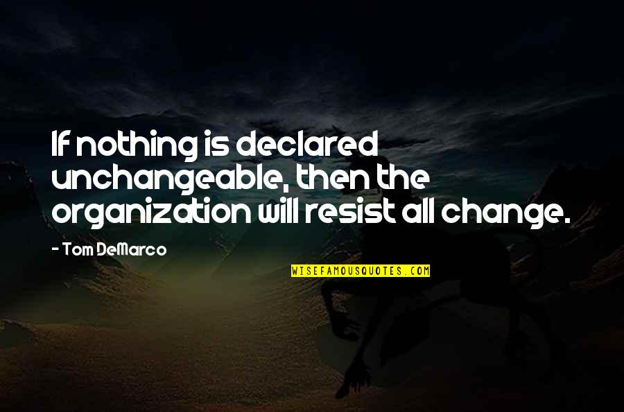 Willing To Wait Quotes By Tom DeMarco: If nothing is declared unchangeable, then the organization