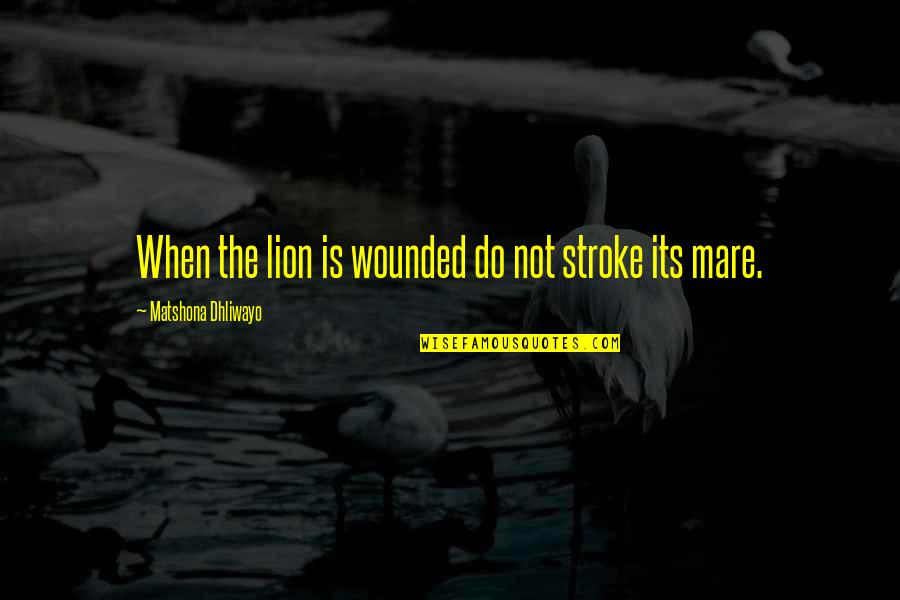 Willpower And Love Quotes By Matshona Dhliwayo: When the lion is wounded do not stroke