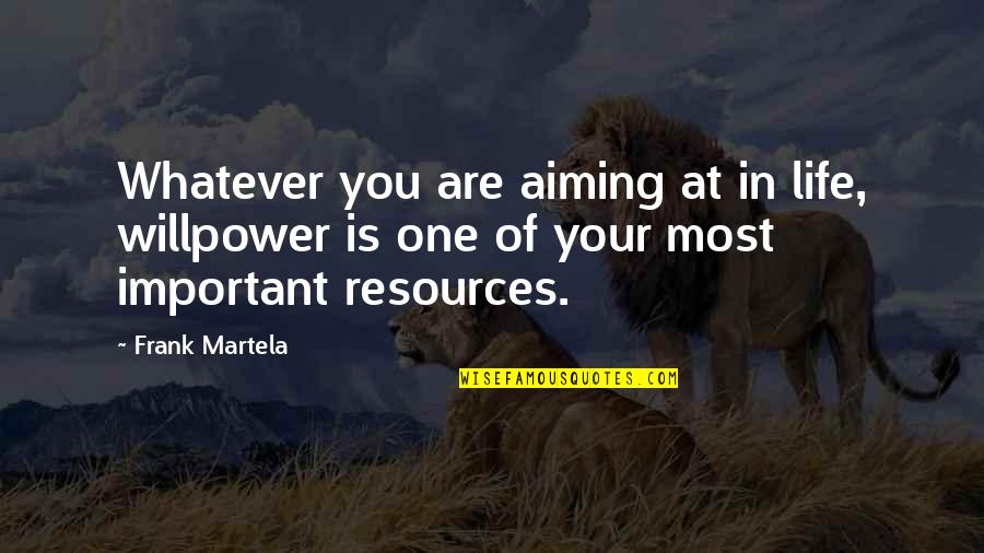 Willpower Quotes By Frank Martela: Whatever you are aiming at in life, willpower