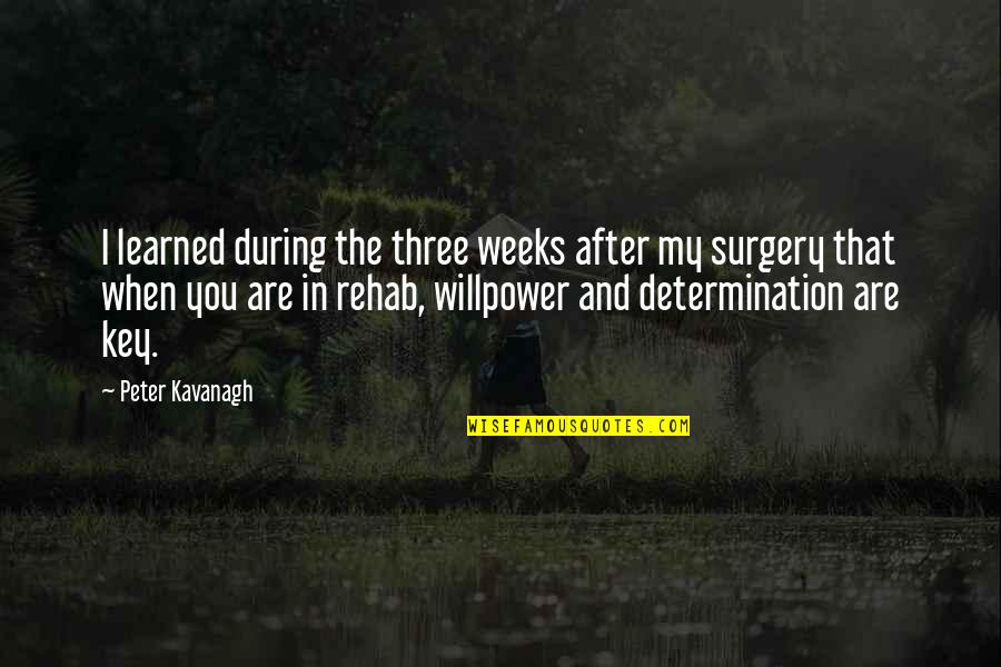 Willpower Quotes By Peter Kavanagh: I learned during the three weeks after my