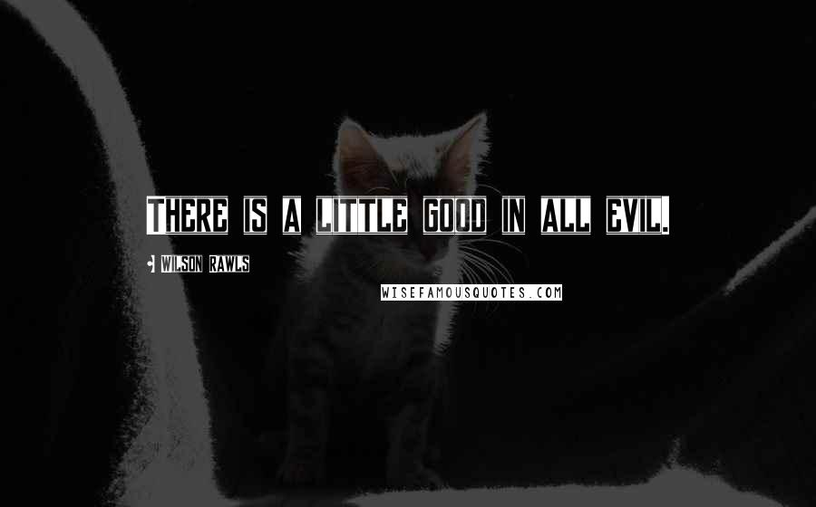 Wilson Rawls quotes: There is a little good in all evil.