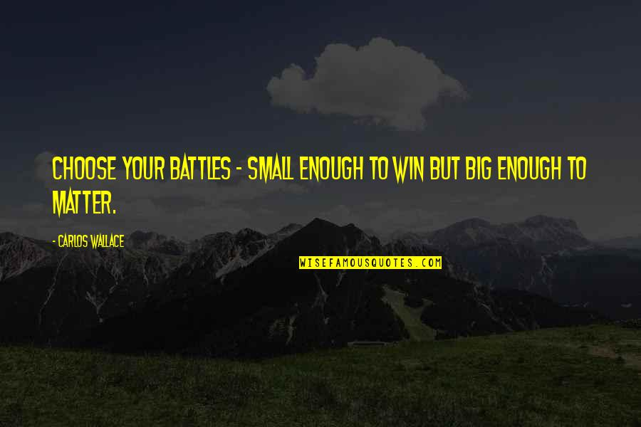 Win Big Quotes By Carlos Wallace: Choose your battles - small enough to win