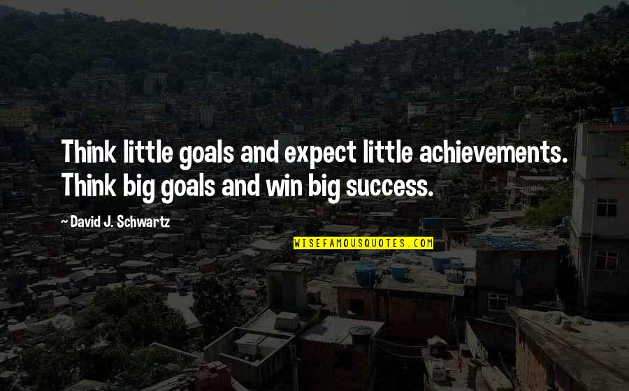 Win Big Quotes By David J. Schwartz: Think little goals and expect little achievements. Think