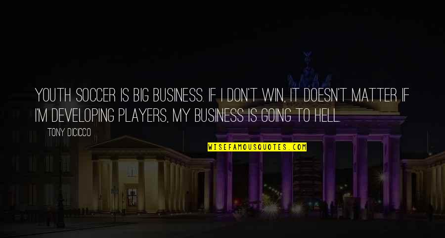 Win Big Quotes By Tony DiCicco: Youth soccer is big business. If I don't