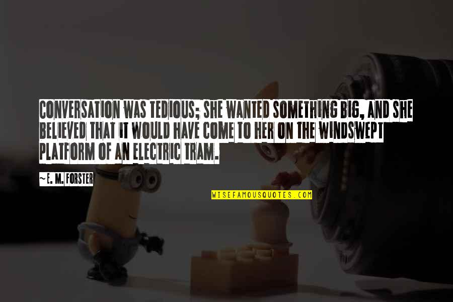 Windswept Quotes By E. M. Forster: Conversation was tedious; she wanted something big, and