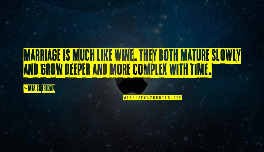 Wine And Time Quotes By Mia Sheridan: Marriage is much like wine. They both mature