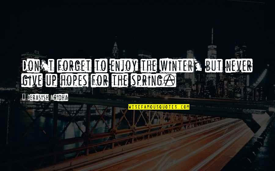 Winter Quotes And Quotes By Debasish Mridha: Don't forget to enjoy the winter, but never