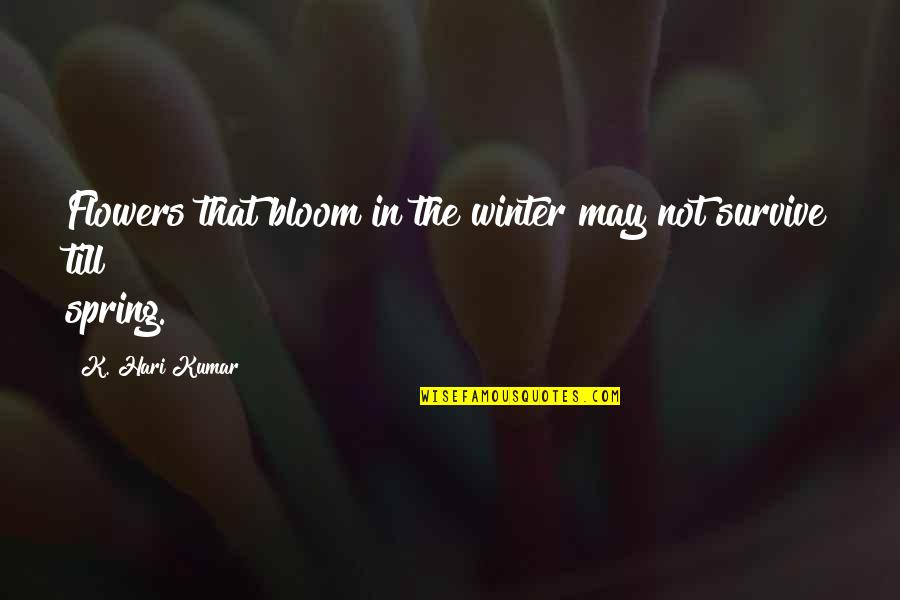 Winter Quotes And Quotes By K. Hari Kumar: Flowers that bloom in the winter may not