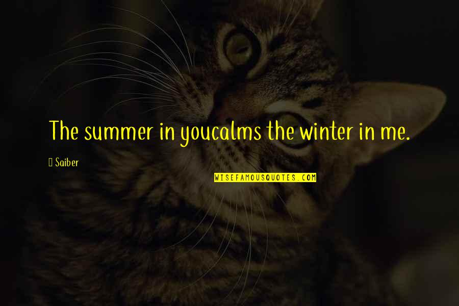 Winter Quotes And Quotes By Saiber: The summer in youcalms the winter in me.