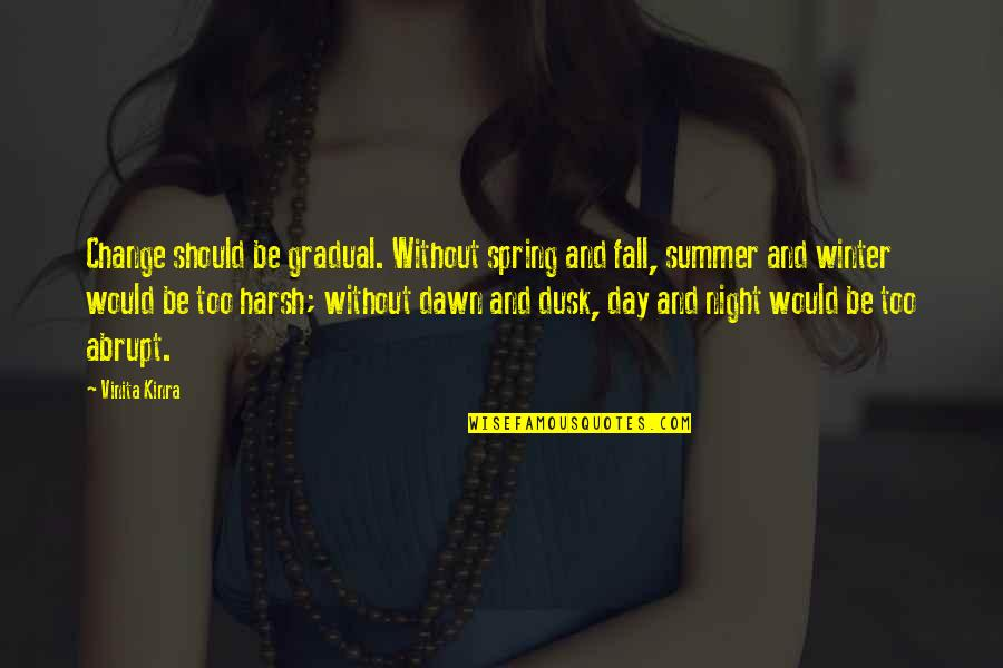 Winter Quotes And Quotes By Vinita Kinra: Change should be gradual. Without spring and fall,