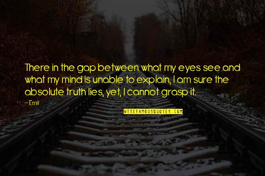 Wisdom And Living Quotes By Emil: There in the gap between what my eyes