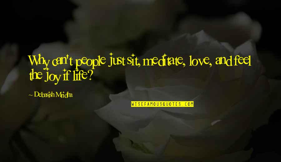 Wisdom And Love Quotes By Debasish Mridha: Why can't people just sit, meditate, love, and