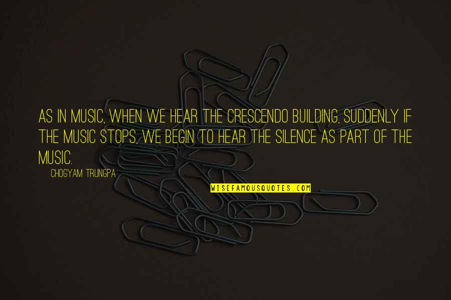 Wisdom In Silence Quotes By Chogyam Trungpa: As in music, when we hear the crescendo