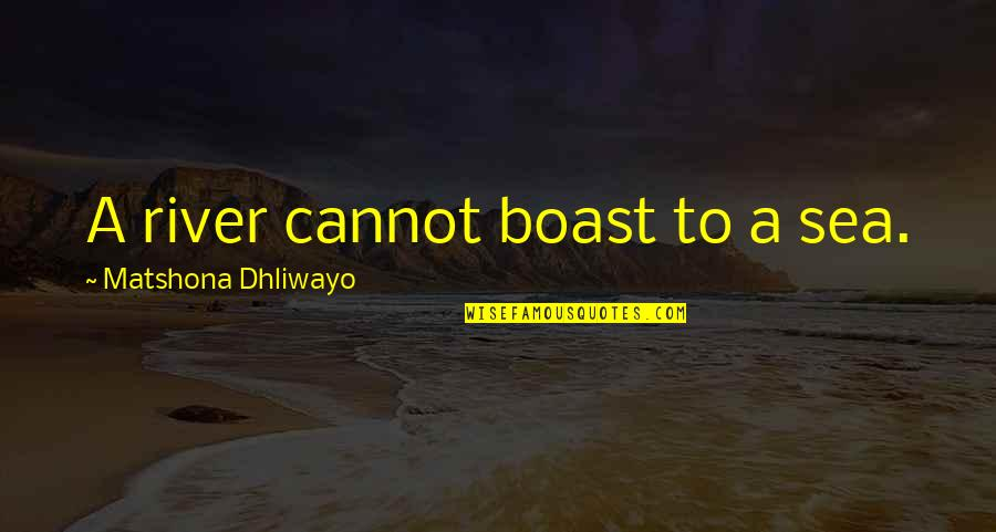Wise Quotes Nd Quotes By Matshona Dhliwayo: A river cannot boast to a sea.