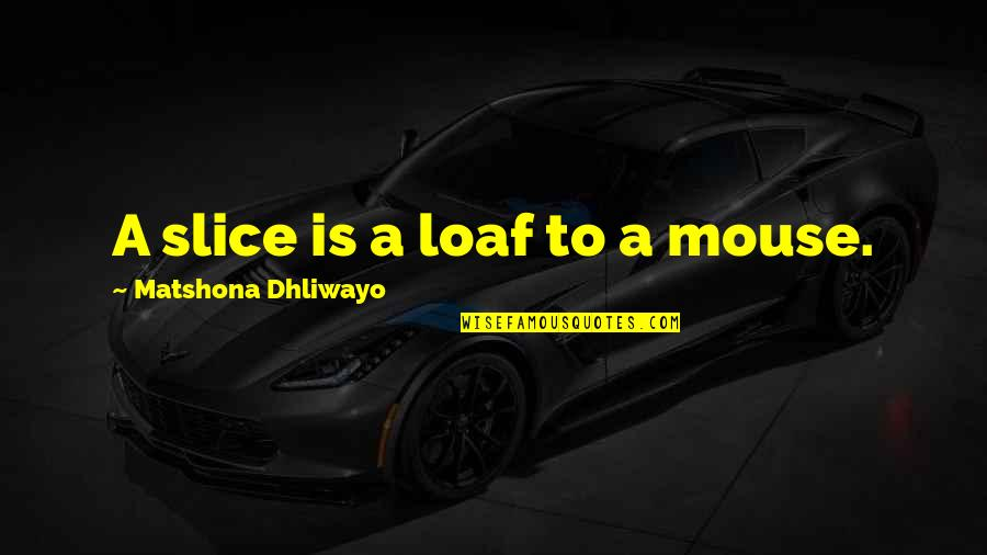 Wise Quotes Nd Quotes By Matshona Dhliwayo: A slice is a loaf to a mouse.