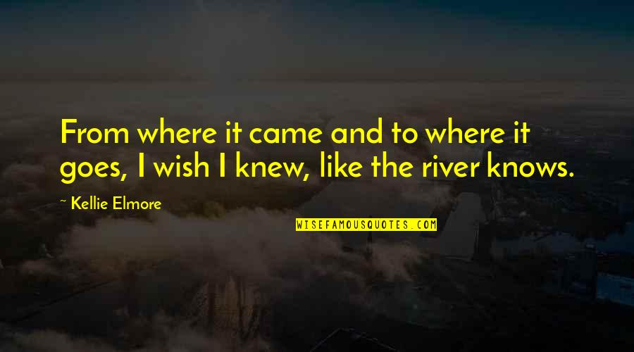 Wish I Knew Quotes By Kellie Elmore: From where it came and to where it
