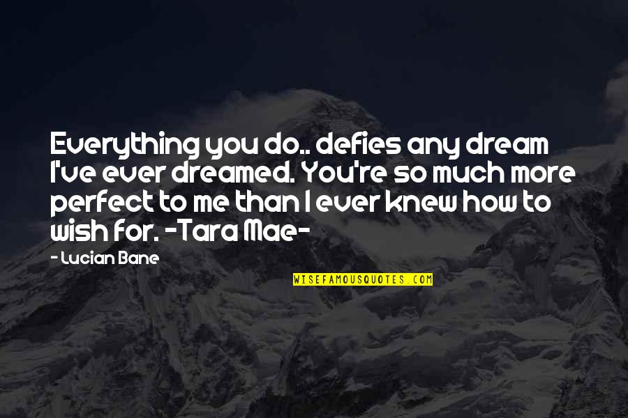 Wish I Knew Quotes By Lucian Bane: Everything you do.. defies any dream I've ever