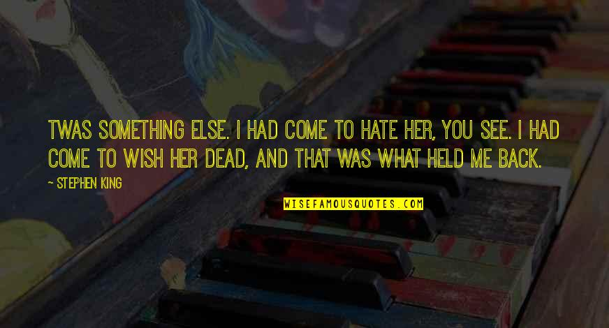 Wish You Were Back Quotes By Stephen King: Twas something else. I had come to hate