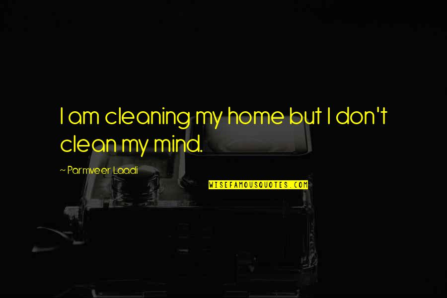 Wish You Would Change Quotes By Parmveer Laadi: I am cleaning my home but I don't