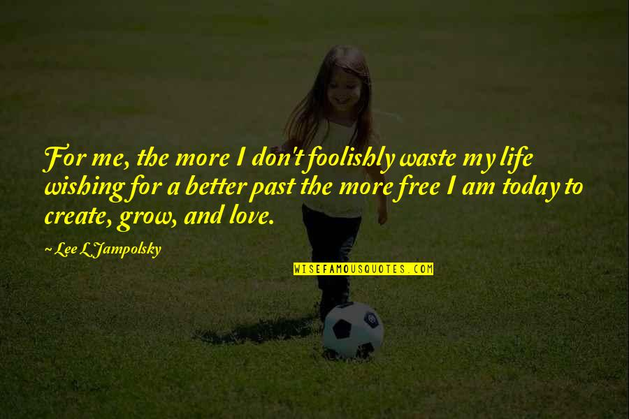 Wishing For Better Life Quotes By Lee L Jampolsky: For me, the more I don't foolishly waste