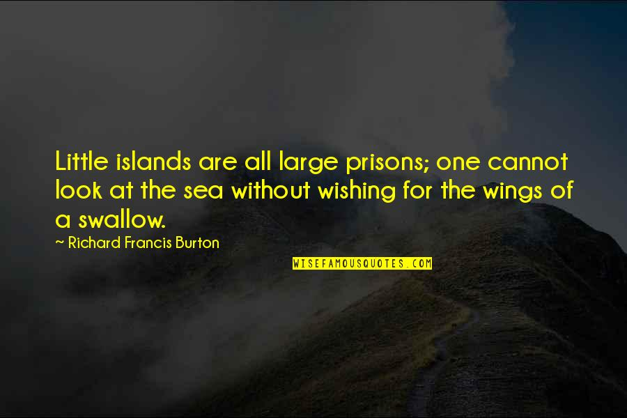 Wishing The Best For Your Ex Quotes By Richard Francis Burton: Little islands are all large prisons; one cannot