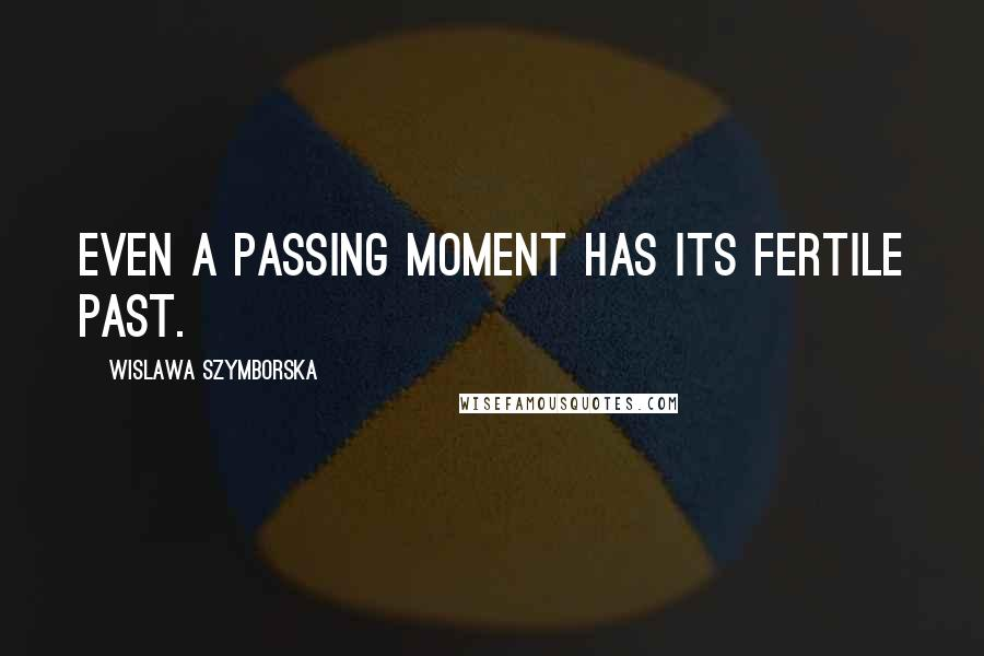 Wislawa Szymborska quotes: Even a passing moment has its fertile past.
