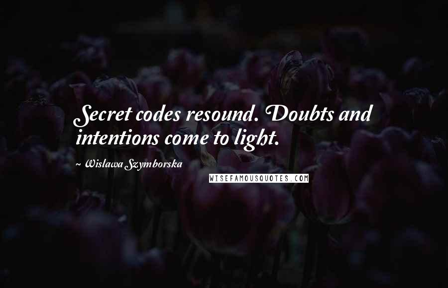 Wislawa Szymborska quotes: Secret codes resound. Doubts and intentions come to light.