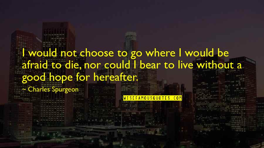 Without Hope Quotes By Charles Spurgeon: I would not choose to go where I