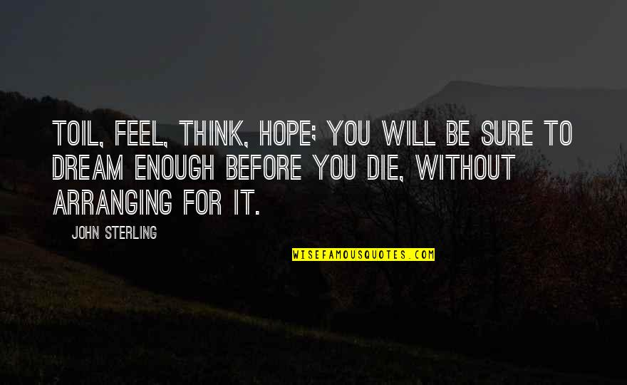 Without Hope Quotes By John Sterling: Toil, feel, think, hope; you will be sure