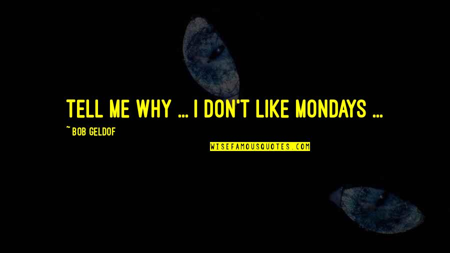 Without Mondays Quotes By Bob Geldof: Tell me why ... I don't like Mondays