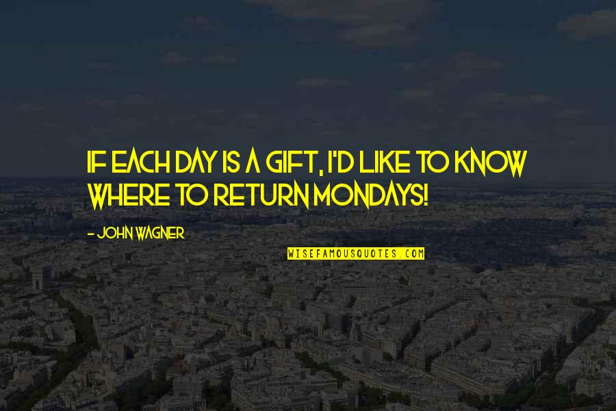 Without Mondays Quotes By John Wagner: If each day is a gift, I'd like