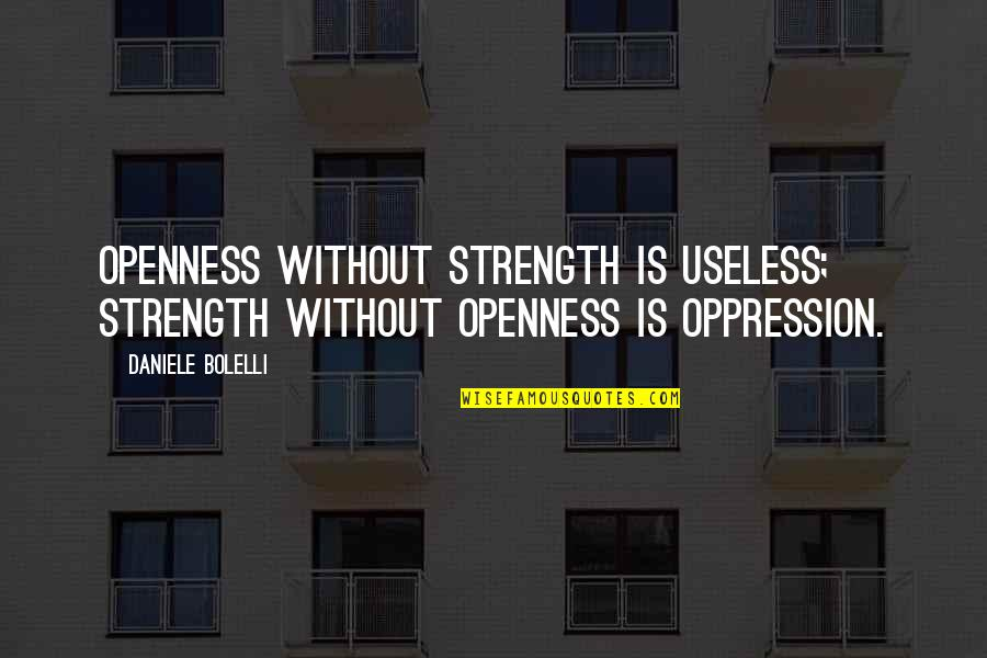 Without Strength Quotes By Daniele Bolelli: Openness without strength is useless; strength without openness