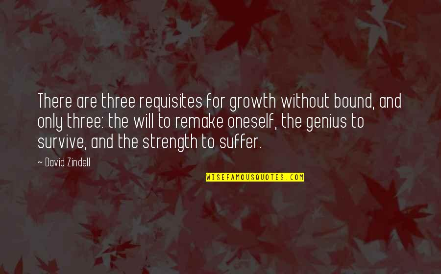 Without Strength Quotes By David Zindell: There are three requisites for growth without bound,