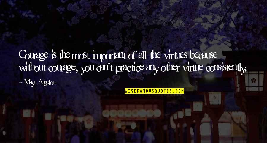 Without Strength Quotes By Maya Angelou: Courage is the most important of all the
