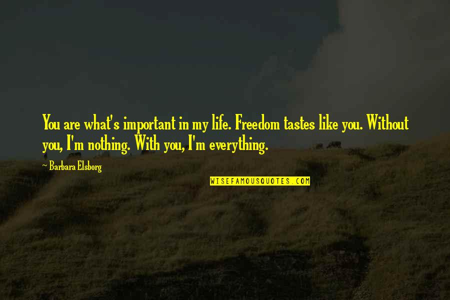 Without You I ' M Nothing Quotes By Barbara Elsborg: You are what's important in my life. Freedom
