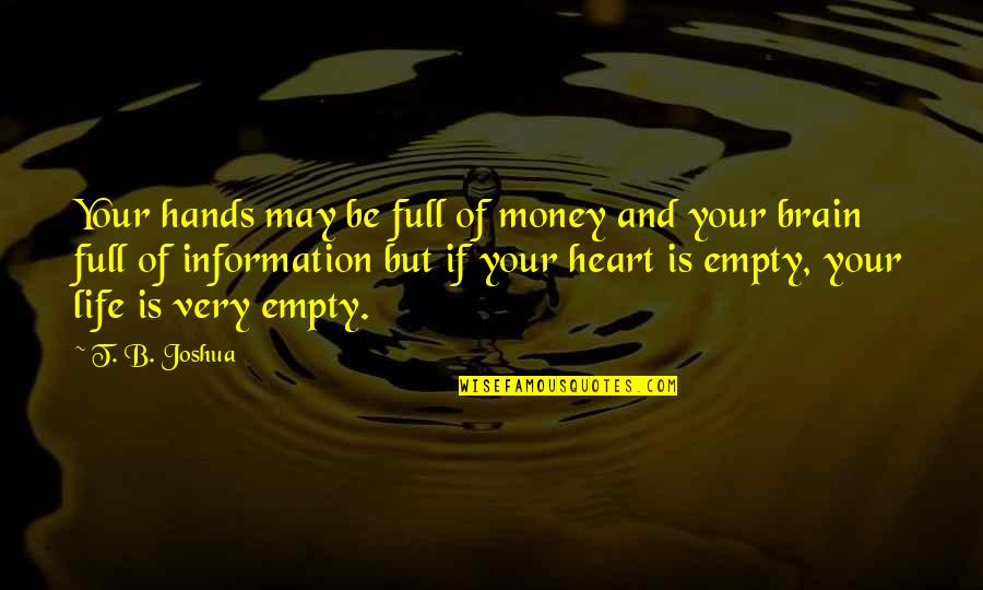 Without You My Life Is Empty Quotes By T. B. Joshua: Your hands may be full of money and