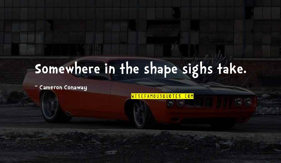 Witty Hump Day Quotes By Cameron Conaway: Somewhere in the shape sighs take.