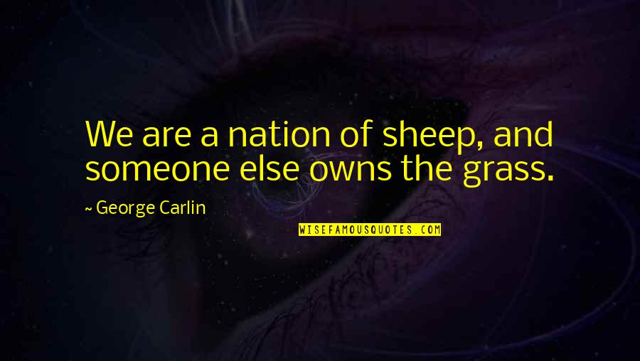 Witty Sarcastic Funny Quotes By George Carlin: We are a nation of sheep, and someone