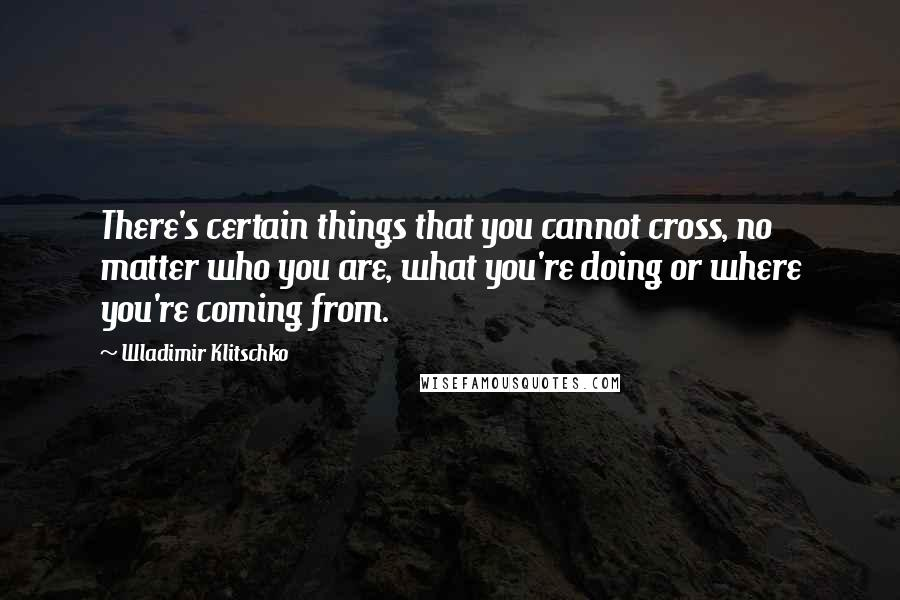 Wladimir Klitschko quotes: There's certain things that you cannot cross, no matter who you are, what you're doing or where you're coming from.