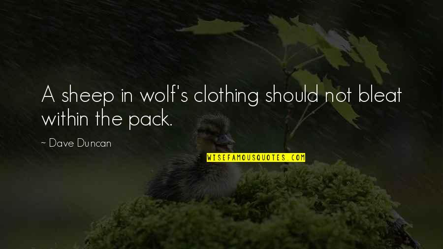 Wolf And Sheep Quotes By Dave Duncan: A sheep in wolf's clothing should not bleat