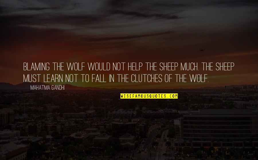 Wolf And Sheep Quotes By Mahatma Gandhi: Blaming the wolf would not help the sheep