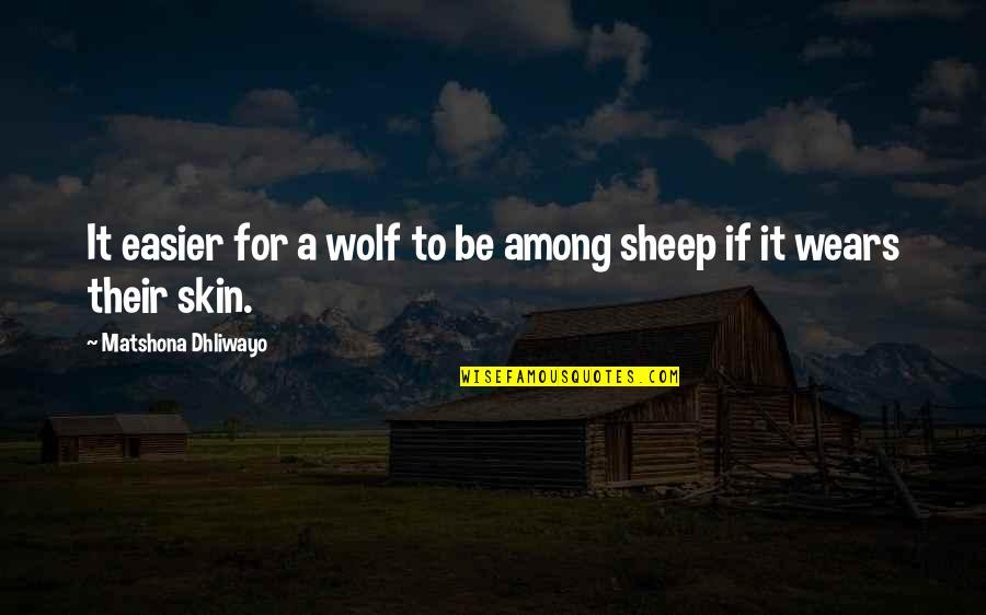 Wolf And Sheep Quotes By Matshona Dhliwayo: It easier for a wolf to be among