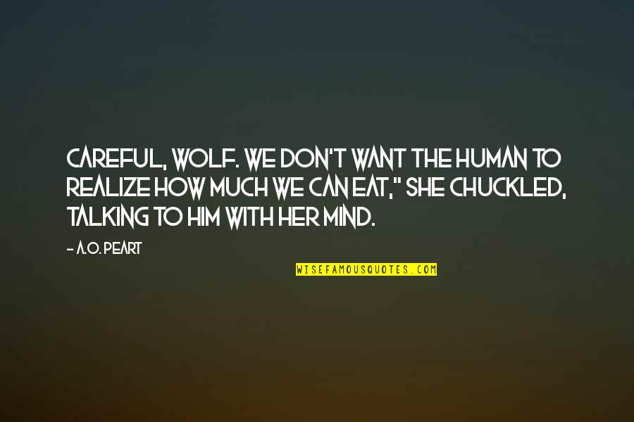 Wolf O'donnell Quotes By A.O. Peart: Careful, wolf. We don't want the human to