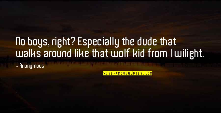 Wolf O'donnell Quotes By Anonymous: No boys, right? Especially the dude that walks