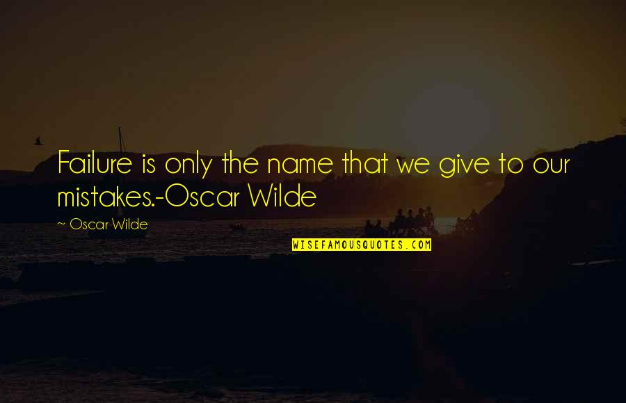 Woman Value Yourself Quotes By Oscar Wilde: Failure is only the name that we give