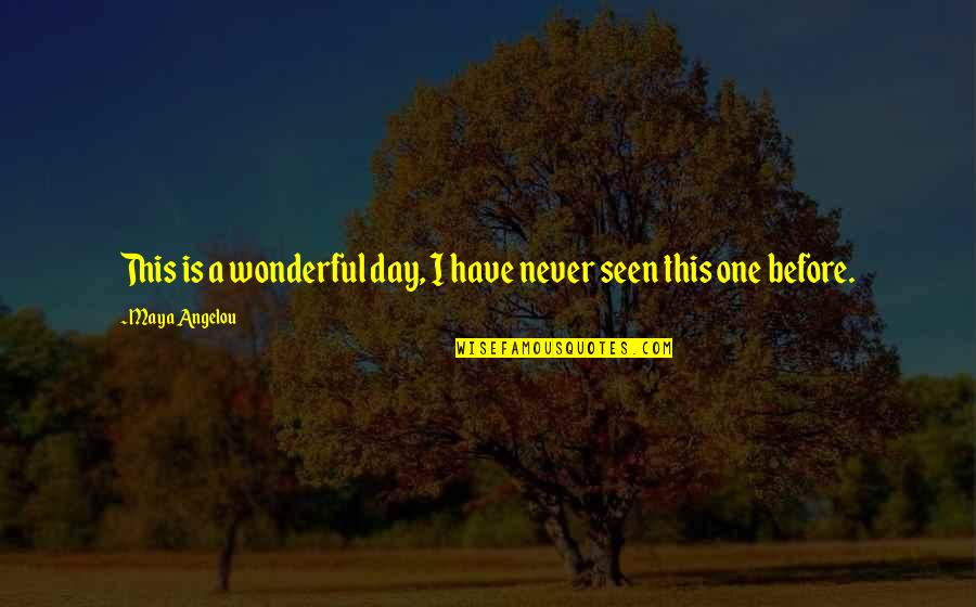 Wonderful Day Quotes By Maya Angelou: This is a wonderful day, I have never