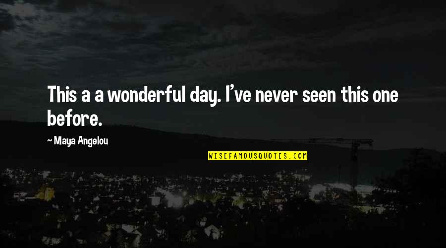 Wonderful Day Quotes By Maya Angelou: This a a wonderful day. I've never seen