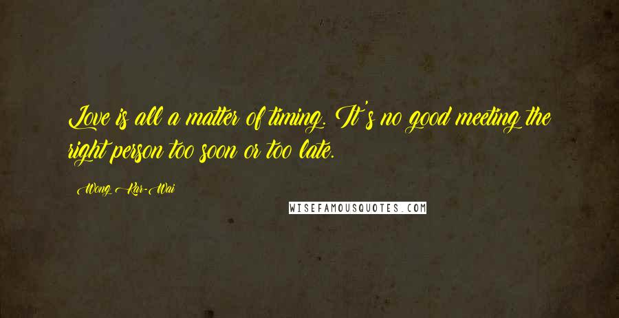 Wong Kar-Wai quotes: Love is all a matter of timing. It's no good meeting the right person too soon or too late.